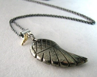 Gold Necklace, Angel Wing Necklace, Gold Pyrite Necklace, Sterling Silver, Long Layering Gold Necklace - On Angels Wings