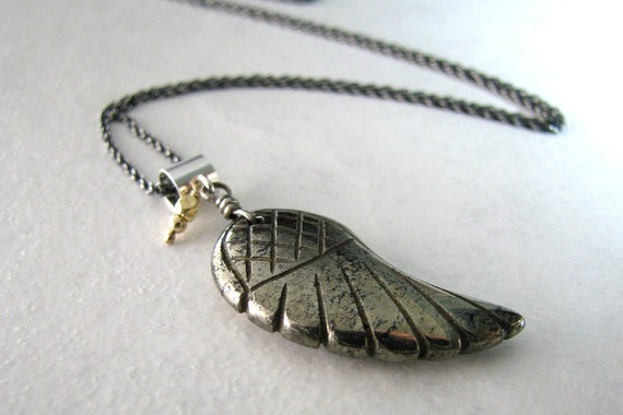 ... , Sterling Silver, Long Layering Gold Necklace - On Angels Wings