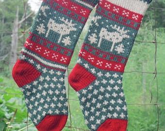 MOOSE Christmas Stocking Digital Knitting Pattern Instant Download