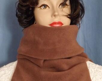 BROWN Neck Warmer Bib Chest Cover Double Layer Fleece Gaiter -  Black, Blue, Dark Brown, Gray