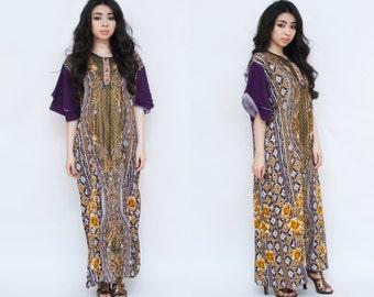 Gold Metallic Floral Indonesian Kaftan Midi Dress XS S M L Free Size