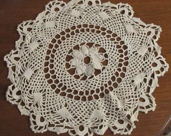 Doily Hand Crochet  Vintage 1950's Doily 15 inch Diameter