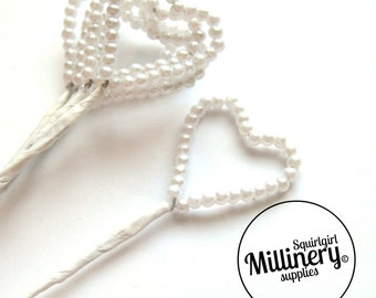 6 Stems Wired White Pearl Hearts For Millinery & Wedding Floral Bouquets