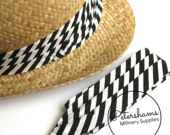 Wrap Around Puggaree Ribbon Hat Band for Hat Making / Millinery - Black & White Stripe