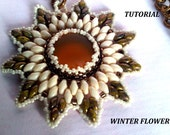 Beading Tutorial PDF Winter Flower Pendent -  Instant Download