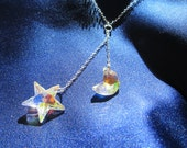 Moon and stars Swarovski crystal and sterling silver necklace
