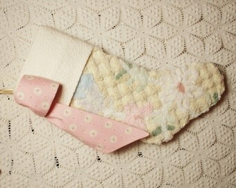 ON SALE - Gorgeous Pastels on Cream Plush Vintage Chenille Christmas Stocking with Eyelet Cuff and Rose Cameo Bow
