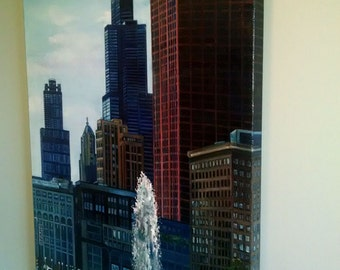 Original Oil Painting of Chicago - 24x36in On Sale