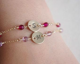 Birthstone Bracelet Personalized Stamped Initial Disc Bracelet, Choose Any Birthstone, Birthday Gifts for Friends Girls Children New Baby