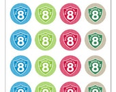 Its Great To Be 8 (shield & stripe design) - 1 inch Graphic Rounds in Printable 5x7 Collage Sheet