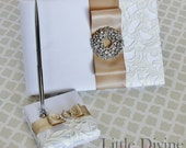 Wedding Guest Book and Pen set White Ivory Embroidery Champagne Can Customizable in your Colors