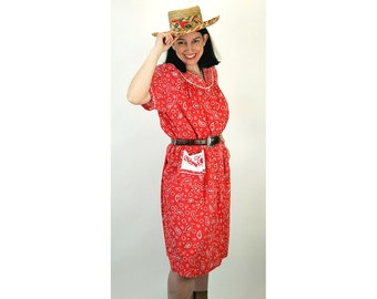 Bandana dress, 1960s house dress, red bandana dress, western dress, pearl snaps, Size M Medium
