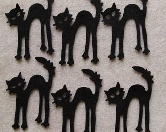 All Black - Scaredy Cat - 12 Die Cut Felt Shapes