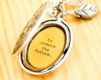 Les Miserables - Victor Hugo - There is nothing like a dream to create the future - Quote Locket - Womens Locket - Graduation Gift