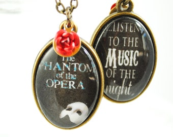 Phantom of the Opera Necklace - Music of the Night - Broadway Jewelry - Broadway Necklace - Double Sided Necklace