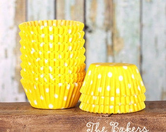 Mini Yellow Polka Dot Cupcake Liners, Yellow Cake Pop Cups, Summer Dot Candy Cups, Mini Yellow Treat Cups, Mini Cupcake Cases (100)
