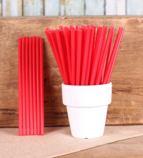 Red Lollipop Sticks, Small Red Cake Pop Sticks, Valentine's Day Lollipop Sticks, Lolly Sticks, Sucker Sticks, Plastic Lollipop Sticks