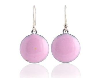 Pink Dot Enamel Earrings