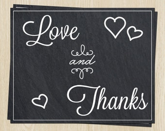 Chalkboard Bridal Shower Thank You Cards, Wedding, Love & Thanks, Hearts, Set of 24 Notes, FREE Shipping, CIUTL, Chalk It Up to Love