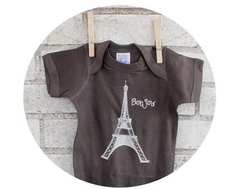 Eiffel Tower Baby Onepiece Bodysuit, Hand Printed Shirt, Infant Clothing, Screenprinted Top, One Piece Romper Unisex Clothes, Bonjour French
