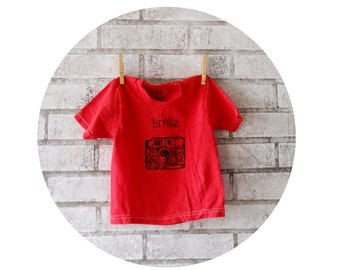 35 MM Camera Tshirt, T Shirt,  children or toddlers cotton crew neck tee, Bright Red, Short Sleeved, Screenprinted Tshirt, Hand Printed