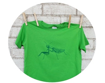 Youth Praying Mantis Tshirt, Short Sleeved Screenprinted Shirt, Hand Printed, Garden Insect, Apple Green, Cool Bug, Toddler Clothes