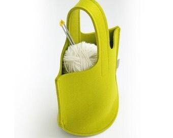 Apple Green Knitting Bag / Small Wool Felt Bag