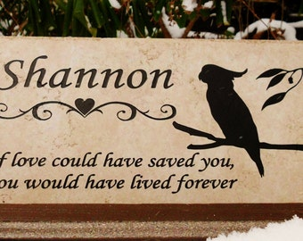Cockatoo Grave Marker 12x6 -'Shannon' design. No Maintenance Weathered Italian Porcelain...