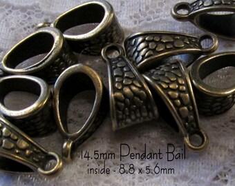 """14.5mm Pendant Bail - """"Pebbles"""" - Antique Bronze - 5pc - sku 04.10.14.6 - B29"""