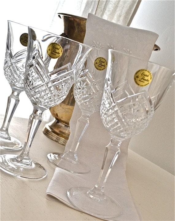 Vintage Crystal Wine Glasses Set - One Free
