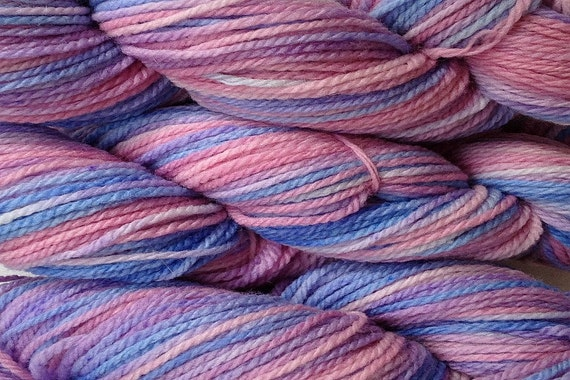 Hand Painted Merino Wool Worsted Weight Yarn in Winter Wind Hand Dyed