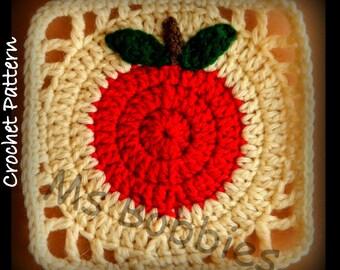 Apple Granny Square - Crochet - Pattern - PDF 06101920  - Afghan Square