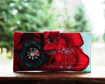 Wallet clutch handmade vegan giant poppy