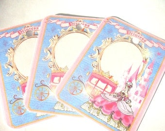 Princess Tags -  Set of 6 - Pink And Blue - Royal Tags - Castle Tags - Carriage Tags - Thank Yous - Little Princess - Fairy Tale Princess