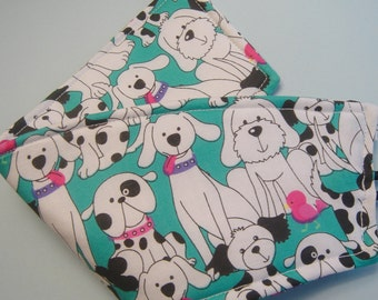 Coffee Cup Cozy Turquoise Dogs and Puppy in Black and White