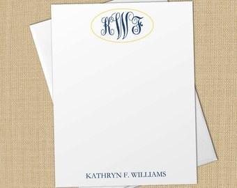 Interlocking Script Monogram - Set of 8 CUSTOM Personalized Flat Note Cards/ Stationery