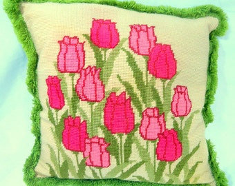 Vintage Retro Hot Pink Tulip Pillow