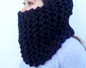 Super Thick Wool Scarf * Hand Knit * The Tahoe in Black * Men Women by Tejidos on Etsy * Ready to Ship