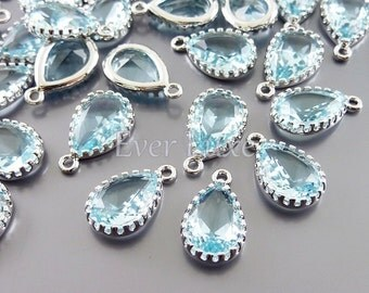 2 aqua blue 12mm glass charms, glass beads for diy jewelry making, craft supplies 5049R-AQ-12 (bright silver, aqua, 12mm, 2 pieces)