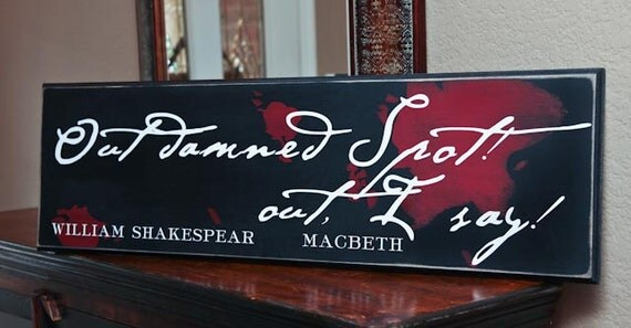 8x24 Out Damned Spot -- William Shakespeare Quote -- Laundry Room Sign -- CUSTOM COLORS -- 3 sizes