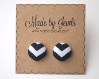 Fabric Button Earrings - Black & White Chevron - Buy 3, get 1 FREE