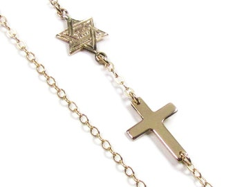 Star Of David with Cross, Sideways Cross Necklace, 14kt Gold Filled or sterling silver