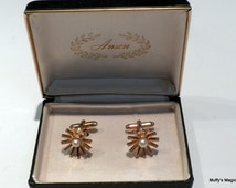 Vintage Cultured Pearl Anson Cuff Links in Original Box
