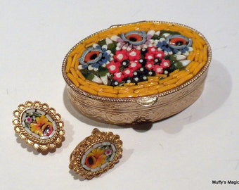 Vintage Mosaic Tile Earrings with Trinket Box