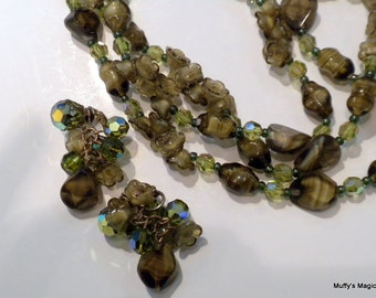 Necklace Earrings of Olive Green Brown Givre Glass Bead Flower Beads