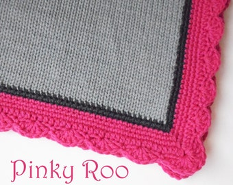 Modern Baby blanket in solid grey body and Charcoal and hot pink border.