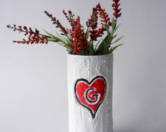 Custom Monogrammed Gift / Vase with initial carving / red heart  / Personalized gift / wedding gift / customized vase / made-to-order