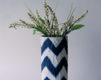 Navy Blue Chevron Vase / Navy Blue and White vase / Painted Vases / beach cottage living / Geometric trend