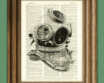Diving Helmet old school illustration beautifully upcycled dictionary page book art print