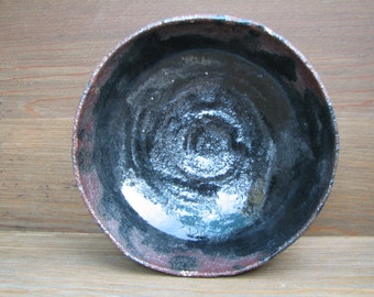 Handcrafted - Pottery - BOWL - Rough Sandy Clay - Black - Brown - Cream - Display - Serving Piece